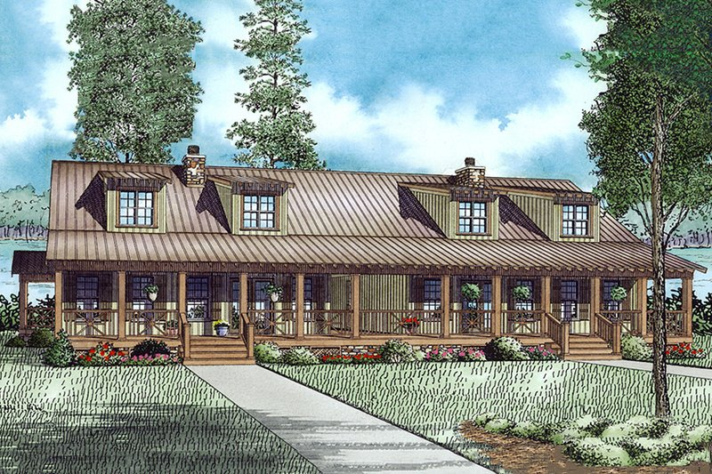 Country Exterior - Front Elevation Plan #17-2564 - Houseplans.com