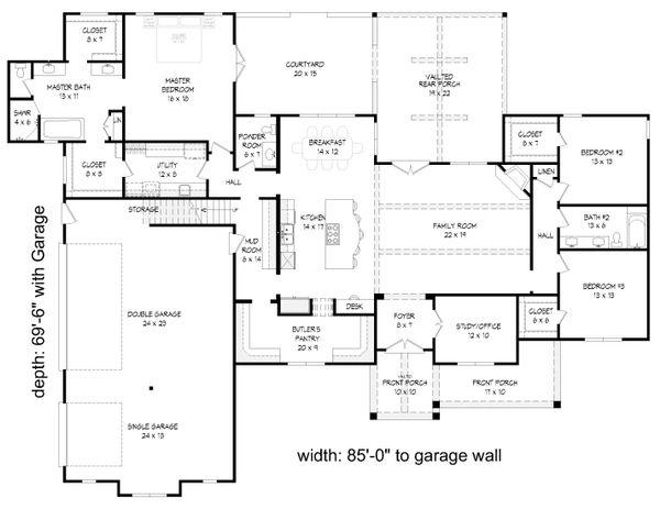 Country Floor Plan - Main Floor Plan Plan #932-64