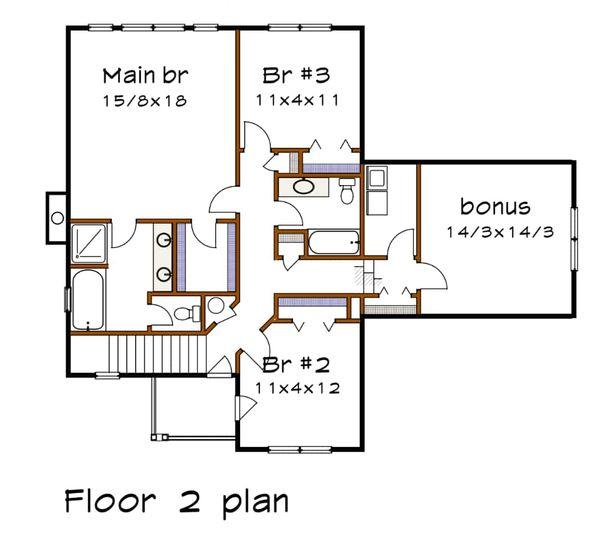 Country Floor Plan - Upper Floor Plan Plan #79-258