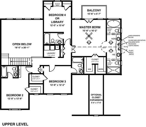 Country Floor Plan - Upper Floor Plan Plan #56-544