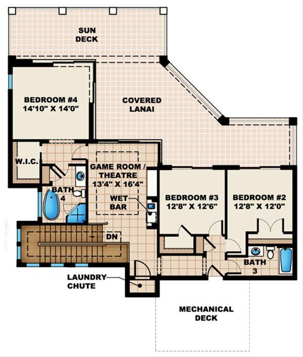 Mediterranean Floor Plan - Upper Floor Plan Plan #27-430