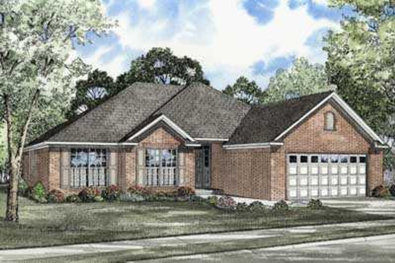 Southern Style House Plan - 3 Beds 2 Baths 1679 Sq/Ft Plan #17-445 Exterior - Front Elevation