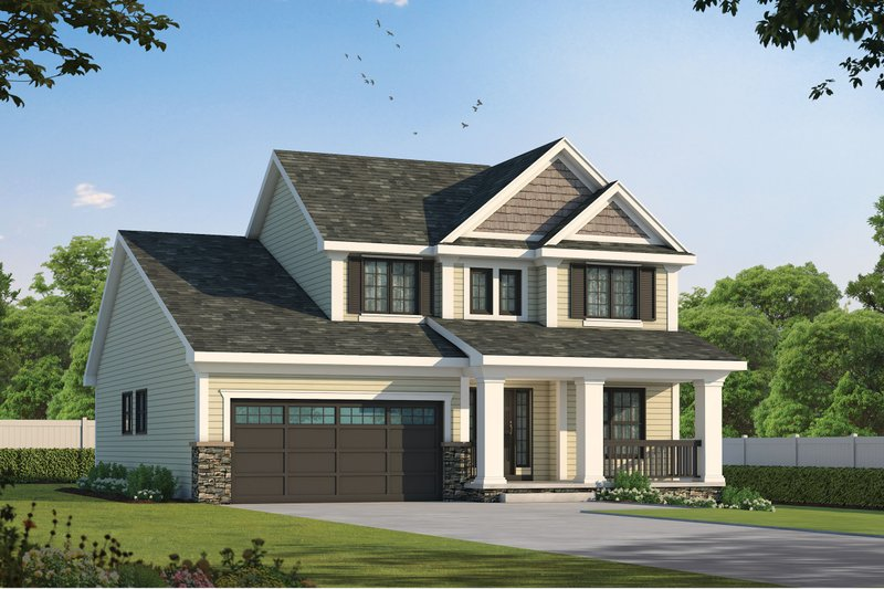 Craftsman Style House Plan - 3 Beds 2.5 Baths 1699 Sq/Ft Plan #20-1220 Exterior - Front Elevation
