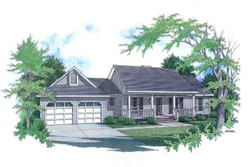 Country Style House Plan - 3 Beds 2 Baths 1458 Sq/Ft Plan #14-132 Exterior - Front Elevation