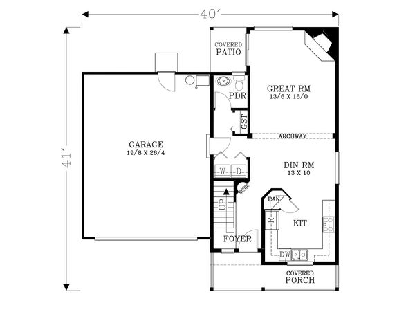 Craftsman Floor Plan - Main Floor Plan Plan #53-597