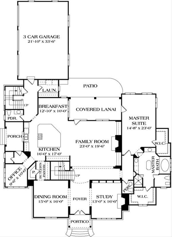 European Floor Plan - Main Floor Plan Plan #453-25