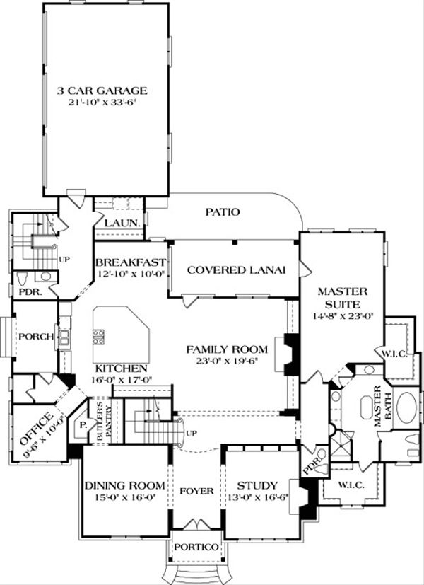 European Floor Plan - Main Floor Plan Plan #453-25