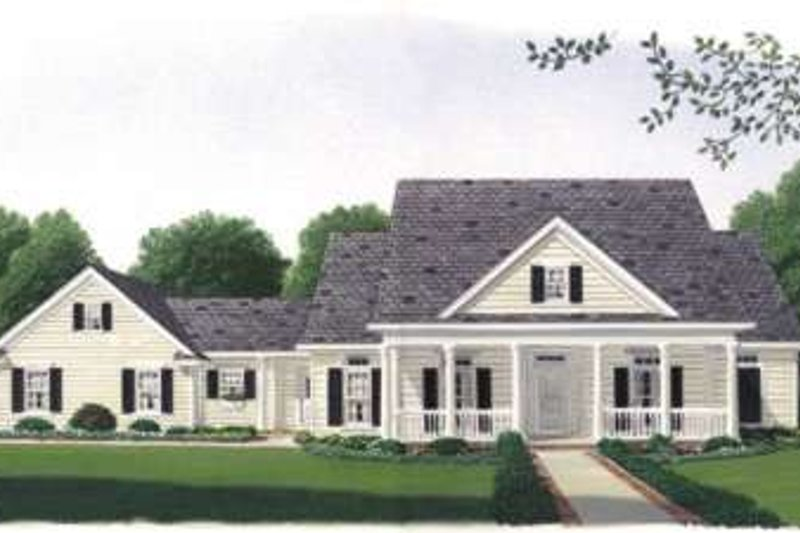 Southern Exterior - Front Elevation Plan #410-116 - Houseplans.com