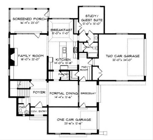 European Floor Plan - Main Floor Plan Plan #413-111