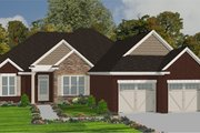 European Style House Plan - 3 Beds 2 Baths 1958 Sq/Ft Plan #63-258 Exterior - Front Elevation