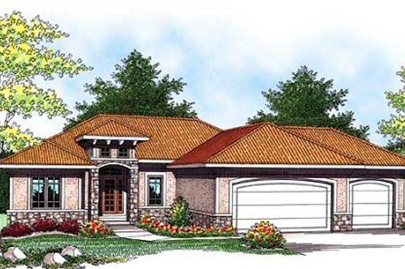 Architectural House Design - Mediterranean Exterior - Front Elevation Plan #70-928