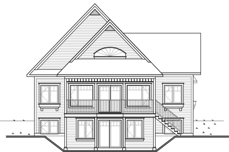 Cottage Exterior - Rear Elevation Plan #23-2318 - Houseplans.com