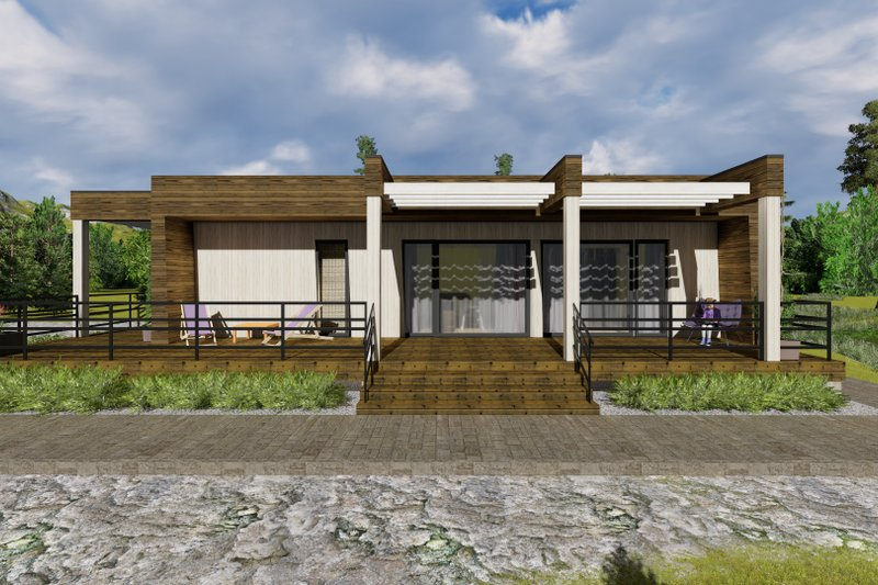 Modern Style House Plan - 3 Beds 1 Baths 1059 Sq/Ft Plan #549-1 Exterior - Front Elevation