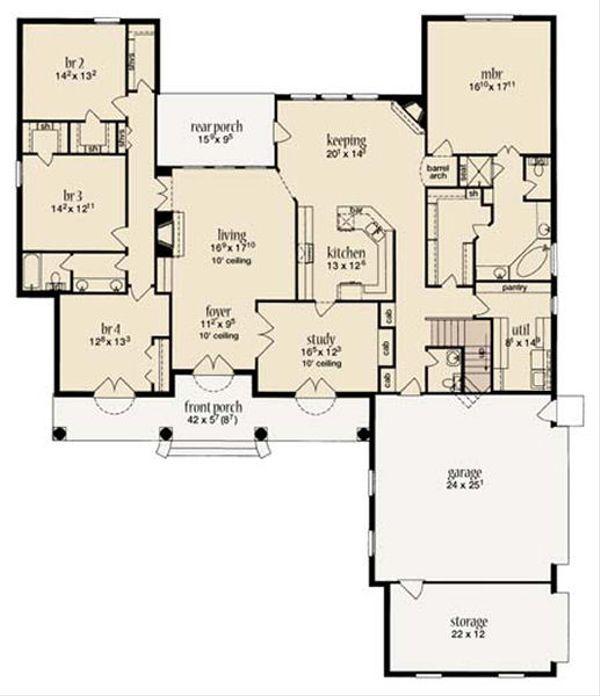 European Floor Plan - Main Floor Plan Plan #36-468