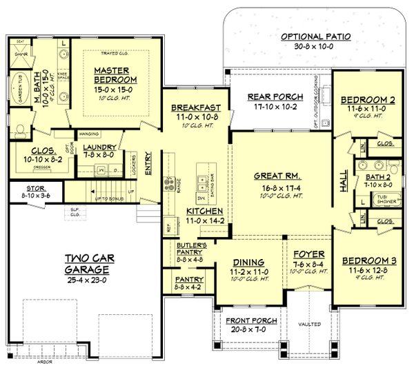 Craftsman Style House Plan - 3 Beds 2 Baths 2073 Sq/Ft Plan #430-157 Floor Plan - Main Floor Plan