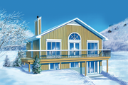 Ranch Style House Plan - 2 Beds 2 Baths 1920 Sq/Ft Plan #25-1070 Exterior - Front Elevation