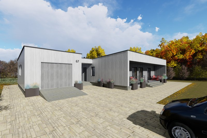 Modern Exterior - Front Elevation Plan #549-21