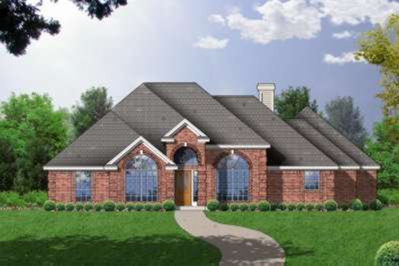 European Style House Plan - 4 Beds 3 Baths 2315 Sq/Ft Plan #40-191 Exterior - Front Elevation