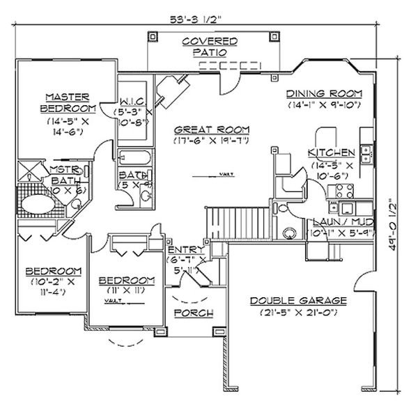 House Plan Design - Ranch Floor Plan - Main Floor Plan #5-241