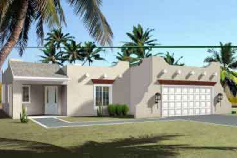 Adobe / Southwestern Style House Plan - 3 Beds 2 Baths 1929 Sq/Ft Plan #1-1379 Exterior - Front Elevation