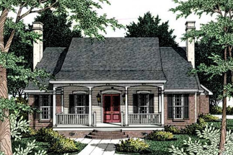 Southern Style House Plan - 3 Beds 2.5 Baths 1775 Sq/Ft Plan #406-179 Exterior - Front Elevation