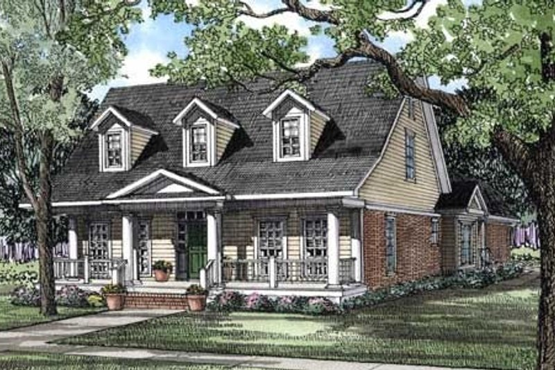 Country Style House Plan - 4 Beds 3 Baths 2286 Sq/Ft Plan #17-281 Exterior - Front Elevation