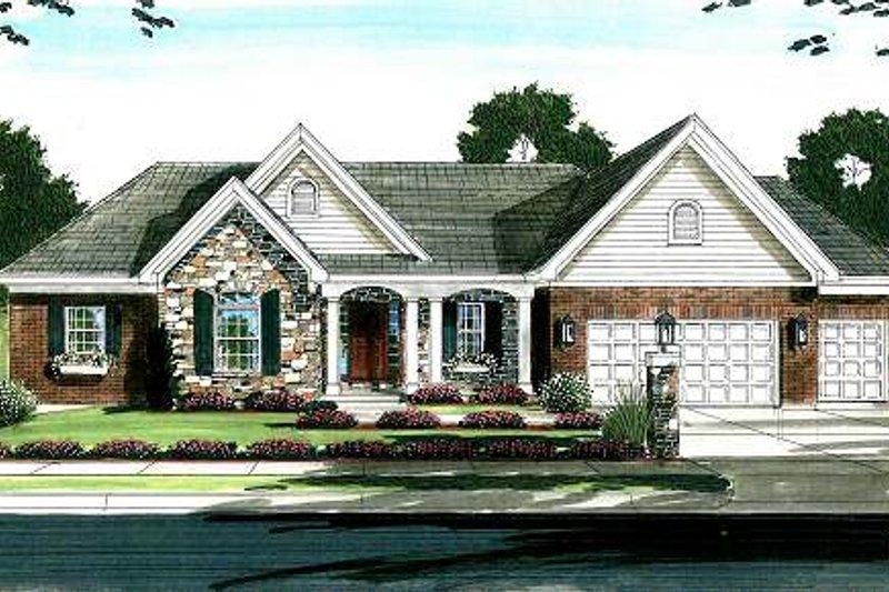 Cottage Exterior - Front Elevation Plan #46-402