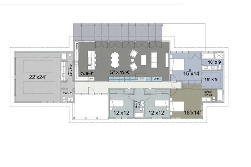 Ranch Floor Plan - Main Floor Plan Plan #445-2