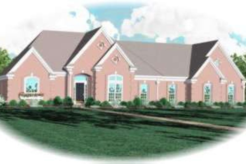 European Style House Plan - 4 Beds 3 Baths 3119 Sq/Ft Plan #81-1177 Exterior - Front Elevation