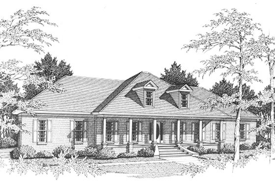 Colonial Exterior - Front Elevation Plan #10-110