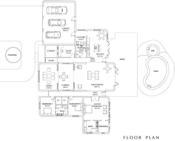 Contemporary Floor Plan - Main Floor Plan Plan #535-8