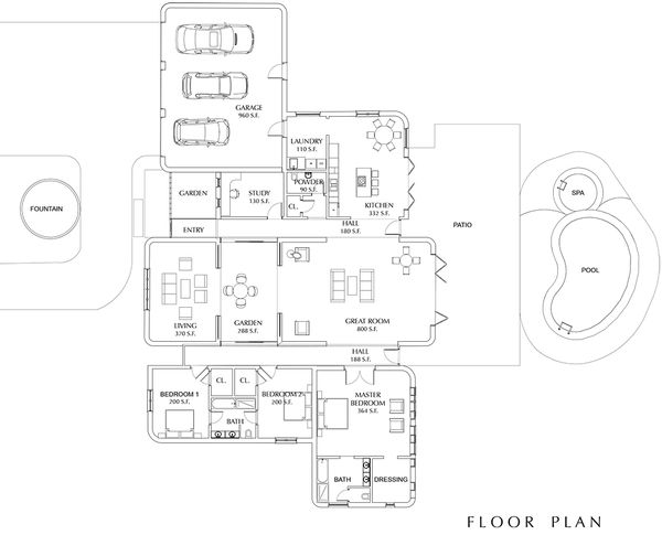 Contemporary Floor Plan - Main Floor Plan Plan #535-8