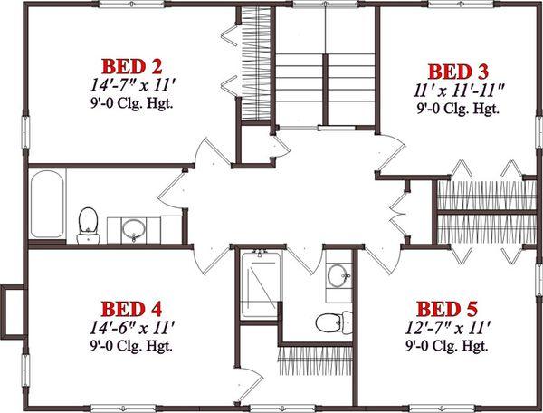 Cabin Floor Plan - Upper Floor Plan #63-303