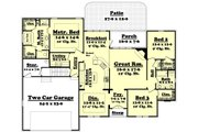 European Style House Plan - 3 Beds 2 Baths 1900 Sq/Ft Plan #430-43 Floor Plan - Main Floor Plan