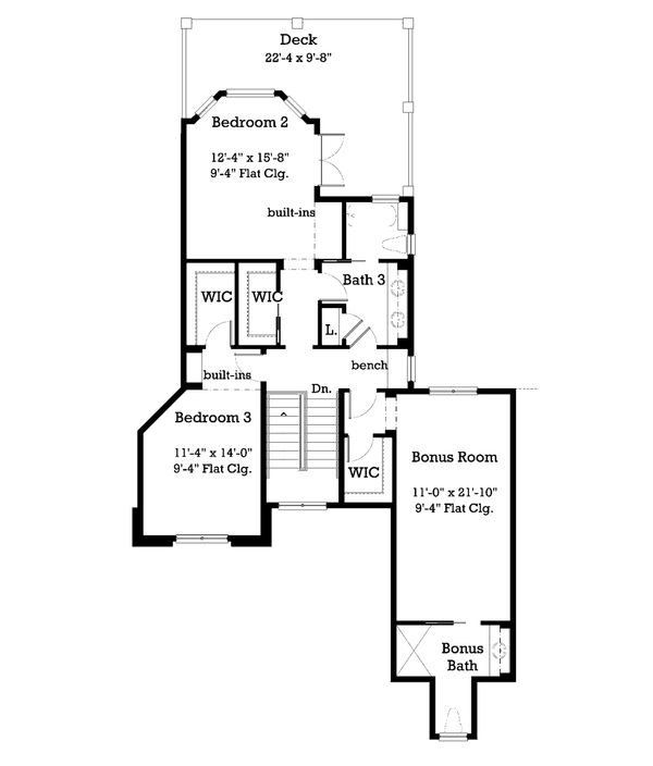 Traditional Floor Plan - Upper Floor Plan Plan #930-11