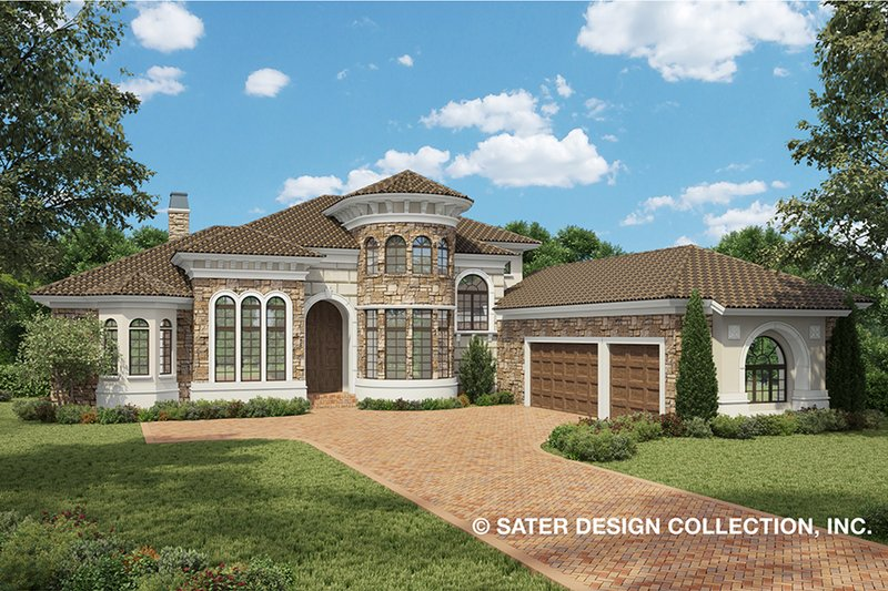 Mediterranean Style House Plan - 4 Beds 4 Baths 3552 Sq/Ft Plan #930-479 Exterior - Front Elevation
