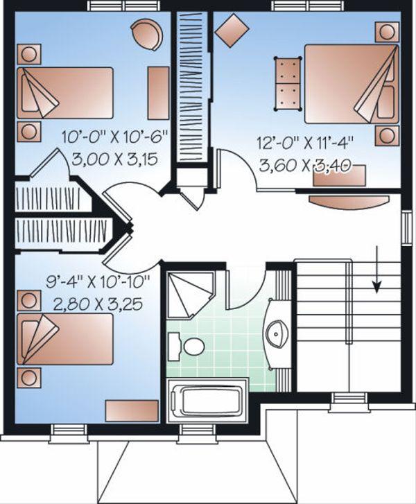 Traditional Floor Plan - Upper Floor Plan Plan #23-739