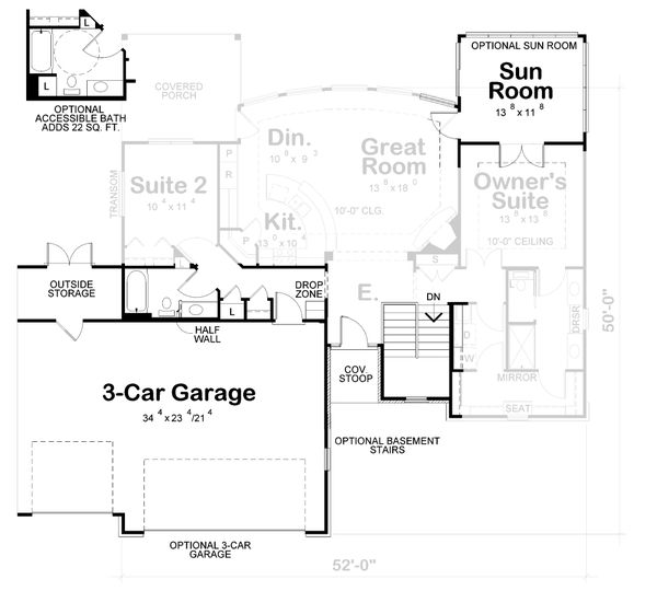 Craftsman Floor Plan - Other Floor Plan Plan #20-2066