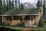 Cabin Style House Plan - 1 Beds 1 Baths 480 Sq/Ft Plan #22-127 Exterior - Front Elevation