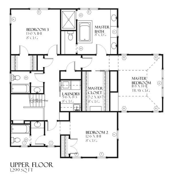 Farmhouse Floor Plan - Upper Floor Plan Plan #901-92