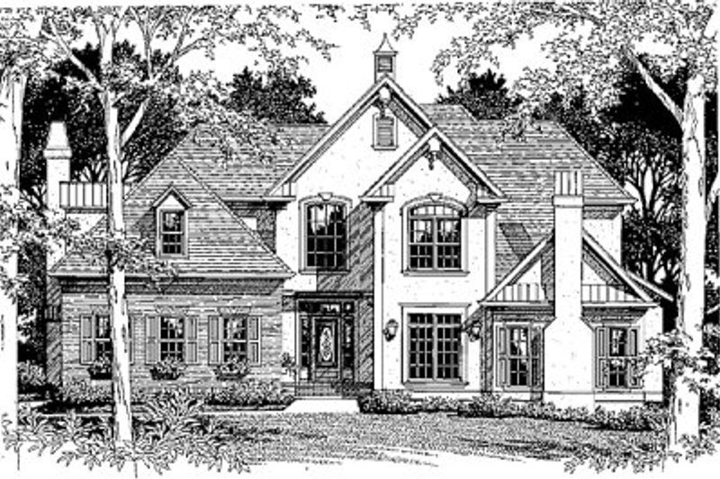 European Style House Plan - 4 Beds 2.5 Baths 3072 Sq/Ft Plan #41-166 Exterior - Front Elevation