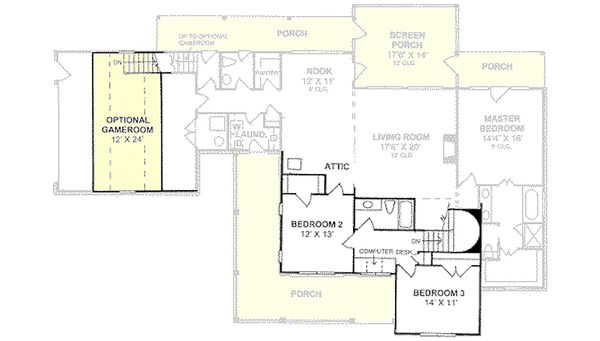 Farmhouse Floor Plan - Upper Floor Plan Plan #20-239