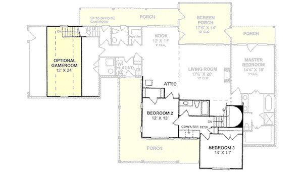 Farmhouse Floor Plan - Upper Floor Plan Plan #20-239