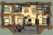 Modern Style House Plan - 4 Beds 2 Baths 1224 Sq/Ft Plan #480-1 Floor Plan - Main Floor Plan