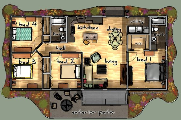 Modern Floor Plan - Main Floor Plan Plan #480-1