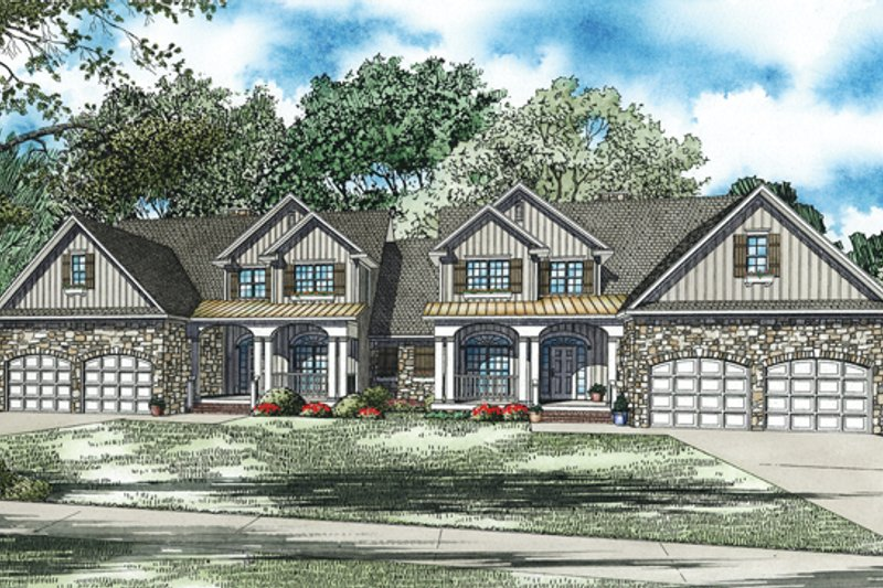 Traditional Style House Plan - 4 Beds 2.5 Baths 2000 Sq/Ft Plan #17-2485 Exterior - Front Elevation