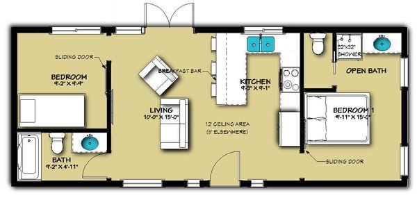 Cabin Floor Plan - Main Floor Plan Plan #504-8