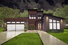 Home Plan - Contemporary Exterior - Front Elevation Plan #17-3393