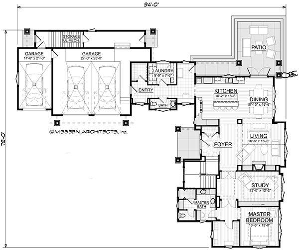 Dream House Plan - Traditional Floor Plan - Main Floor Plan #928-300