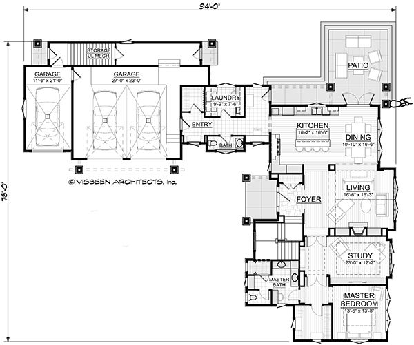 Traditional Floor Plan - Main Floor Plan Plan #928-300